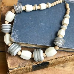Jewelry - Gorgeous Neutral Boho Wooden Statement Necklace